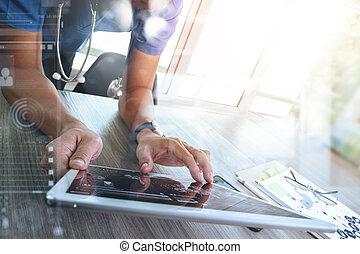 タブレット, デジタル, 医者, 仕事, ネットワーク, 現代, インターフェイス, コンピュータ, 医学, 手, 薬, 概念