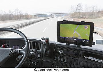 タブレット, ドライブしなさい, トラック, の間, ナビゲーション, キャビン