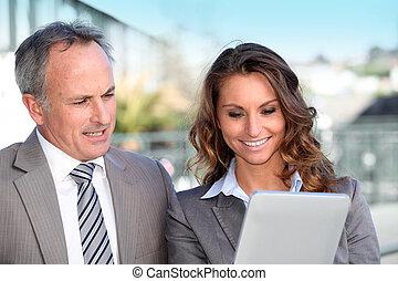 タブレット, パートナー, 仕事, ビジネス, 電子