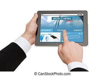 タブレット, ビジネス, の上, pc, 手, 終わり, ニュース