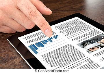 タブレット, ビジネス, スクリーン, 手, 感動的である, ニュース, マレ