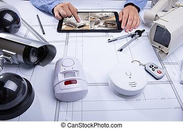 タブレット, フィート数, cctv, 見る, 建築, デジタル