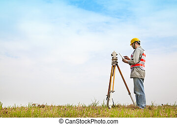 タブレット, フィールド, pc, 測量技師, 測定, 作成, エンジニア