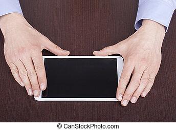 タブレット, 一般的, 現代, 感動的である, pc., 手, ビジネスマン