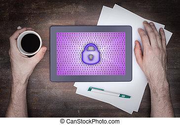 タブレット, 上に, a, 机, 概念, の, データ保護
