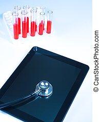 タブレット, 上, 現代, pc, 聴診器, デジタル, 医学の研究所, 光景