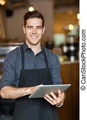 タブレット, 保有物, デジタル, 所有者, カフェ, 幸せ