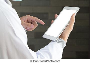 タブレット, 医者, pc, 手を持つ, マレ