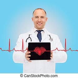 タブレット, 医者, pc, 聴診器, 微笑, マレ