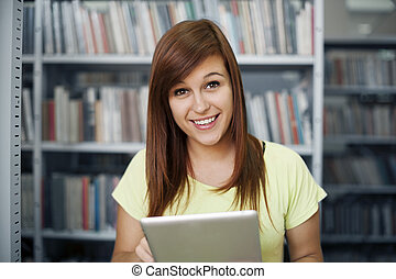 タブレット, 図書館, 学生, デジタル, 使うこと, 幸せ