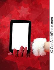 タブレット, 女性, 手袋, 手, pc, 保有物, 赤