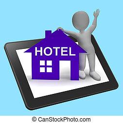 タブレット, 家, ホテル, 休暇, 部屋, 調停, ショー