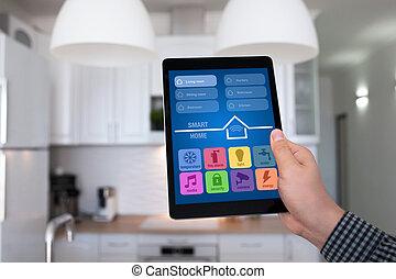 タブレット, 家, app, 手の 保有物, 家, マレ, 痛みなさい, 台所