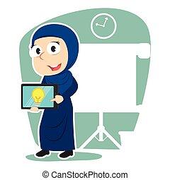 タブレット, 彼女, 女性実業家, 考え, アラビア人, プレゼンテーション
