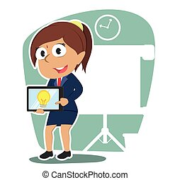 タブレット, 彼女, 女性実業家, 考え, indian, プレゼンテーション