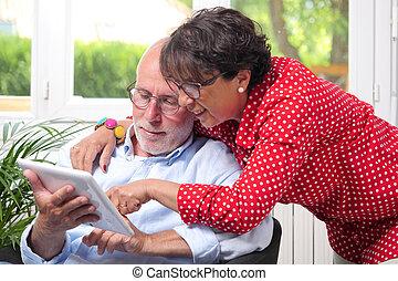 タブレット, 恋人, デジタル, 使うこと, 家, シニア