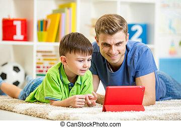 タブレット, 息子, コンピュータ, 人, 遊び, 子供