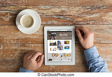タブレット, 手アップ, blog, pc, インターネット, 終わり