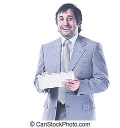 タブレット, 手, ビジネスマン, 肖像画, 微笑, ハンサム