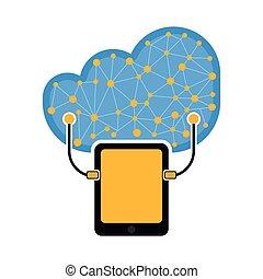 タブレット, 技術, 連結しなさい, 雲