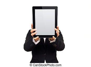 タブレット, 提示, 経営者, デジタル, 空白 スクリーン