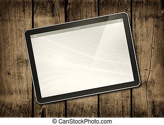 タブレット, 暗い, pc, 木, デジタル, テーブル