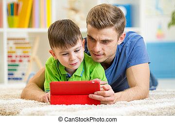 タブレット, 父, 息子, コンピュータ, 家, 遊び, 子供