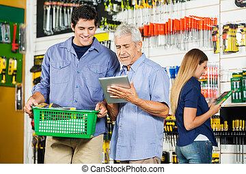 タブレット, 父, 息子, ハードウェア, デジタル, 使うこと, 店