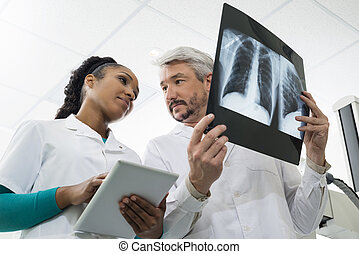 タブレット, 病院, コンピュータ, 放射線技術者, 使うこと, x 線