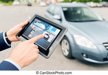 タブレット, 自動車, 手アップ, pc, ニュース, 終わり