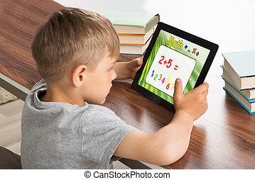 タブレット, 解決, 生徒, デジタル, 問題, 数学