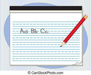 タブレット, 鉛筆, 大きい, 赤, 手書き