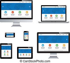タブレット, 隔離された, ラップトップ, webdesign, コンピュータ, 敏感, smartphone, ...