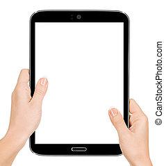 タブレット, 非常に, 手。, 手, 高く, pc, 感動的である, 保有物, 品質