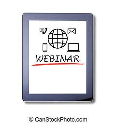 タブレット, isolated., タブレット, 招待, concept., セミナー, 世界的である, webinar, コミュニケーション, オンラインで, 書き言葉, skreen.