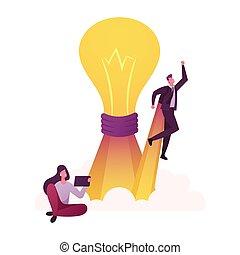 タブレット, outstanding., 漫画, ライト, ビジネスマン, 巨大, pc, モデル, 人々, 外, 離れて, concept., エンジン, 取得, 白熱, 特徴, 女, 創造性, ロケット, ベクトル, 考えなさい, 前部, 電球, イラスト