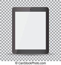 タブレット, screen., 現実的, 黒い背景, ブランク, 透明