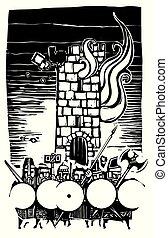 タワー, こびと, 木版, 燃焼