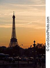 タワー, エッフェル, 日没