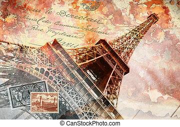 タワー, エッフェル, 芸術, パリ, 抽象的