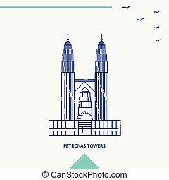 タワー, スカイライン, ベクトル, petronas, イラスト