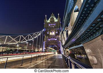 タワー, ロンドン橋, night.