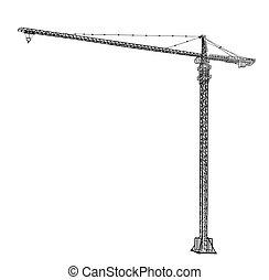 タワー, 建設, crane.