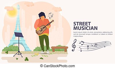 タワー, 旗, 人, 平ら, イラスト, ベクトル, 背景, 遊び, 通りの 音楽家, ギター, 漫画