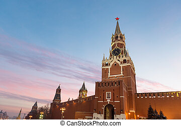 タワー, 日没, kremlin, spasskaya