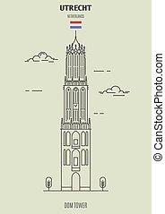 タワー, dom, ランドマーク, netherlands., utrecht, アイコン