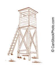タワー, -, drawn., 探求, 手