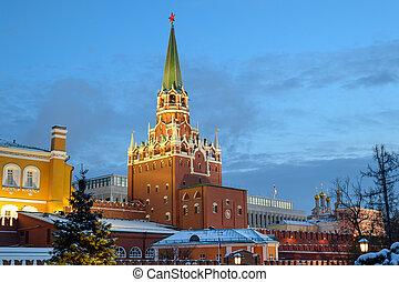 タワー, kremlin, 三位一体, モスクワ