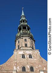 タワー, riga, ピーター, ラトビア, steeple, 教会 鐘, st. 。