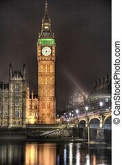 タワー, westminster, 時計, 宮殿